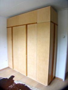 garderobekast, kledingkast, hang-, legkast, berken multiplex, Bilthoven